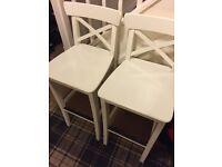 x4 IKEA INGOLF Bar stool with backrest White