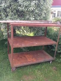 Metal trolley garden garage greenhouse shelving