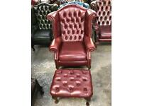 Fantastic leather chesterfield matching Queen Anne wingback chair and footstool Uk delivery