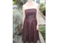Formal strapless brown dress size 8