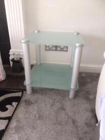 FABULOUS FROSTED GLASS AND BRUSHED STEEL SIDE TABLE