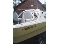 SHETLAND 536 BOAT AND TRAILER WITH EXTRAS NO OUTBOARD
