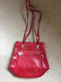 New Red leather backpack handbag
