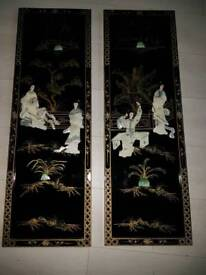 Antique Japanese oriental chinese wall plaques wooden pictures mother of pearl