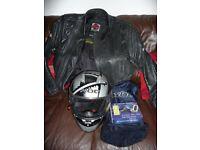 motorbike helmet, jacket and in helmet intercom