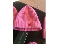 3 x Genuine Lyle & Scott Ladies Beanie Hats - Pink. All with Embroidered Eagle