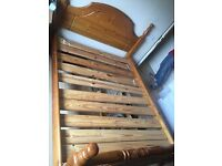 Pine wood king size bed with mattress. Can deliver