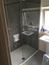 2m x 1m x 8mm glass walk-in shower panel