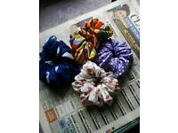 Hand made hair scrunchies and retro tie hair bands