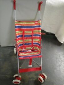 Red Stripey Folding Childs Buggy. Good Condition