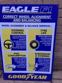 Goodyear Metal Plaque Garage Memorabilia Eagle F1 Wheel alignment and balancing