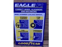 Goodyear Metal Plaque Garage Memorabilia Eagle F1 Wheel alignment and balancing