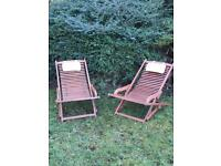 Garden Loungers Solid Wood from Homebase, Excellent Condition