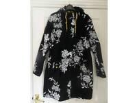 Joules Black Floral Raina Parka Size 10