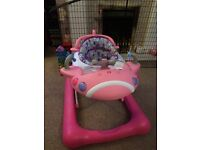 Pink aeroplane baby walker from mothercare