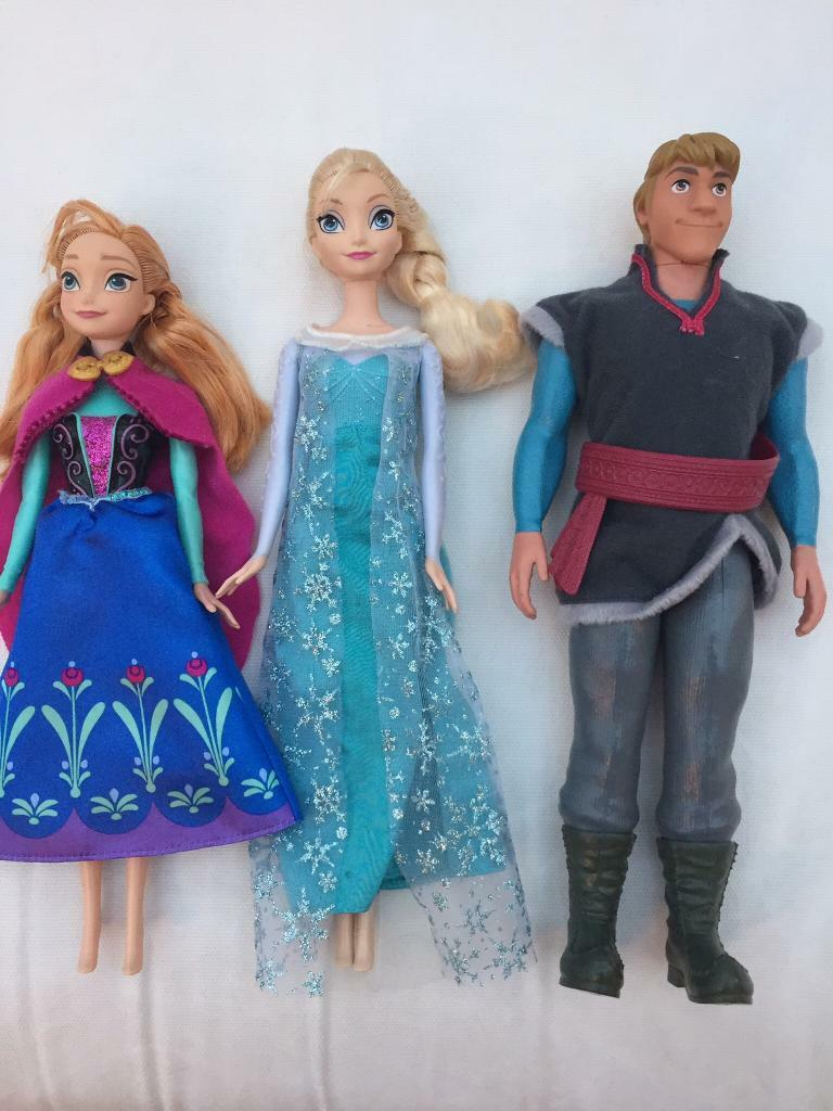 Frozen Elsa, Anna and Kristof dolls