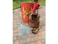 Roman centurian shield, helmet, breast back and shoulder plate, chain mail and belt