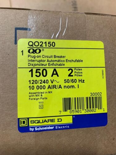 Square D QO2150 150 A Miniature Circuit Breaker 2p ON HAND SHIPS SAME DAY *QTY*