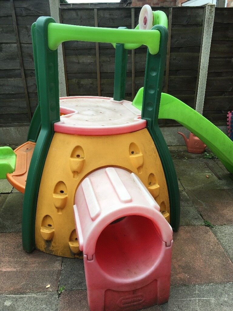 Outdoor climbing frame and slide