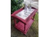 Vintage ruby red tea trolley