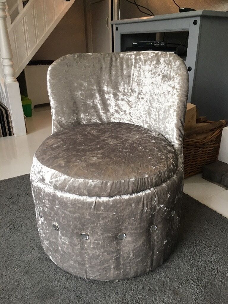 Luxury Silver Grey Velvet Bedroom Chair With Diamonte Detail