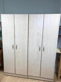 Pair of beech wood wardrobes