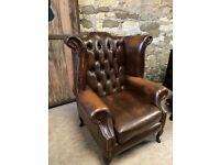 Brown Leather Wing backed Armchair Queen Anne