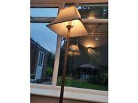 Brass floor standing standard lamp with shade