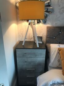 Grey Bedside cabinets - 5 drawers