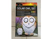 Brand new in box solar powered light owl set