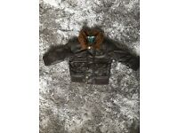 *Zara Baby leather coat with fur collar - 6-9 months*
