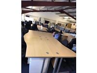 NEW beech office desks comes in straight, wave and crescent shape