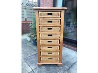 Handmade solid pine wicker drawer unit.