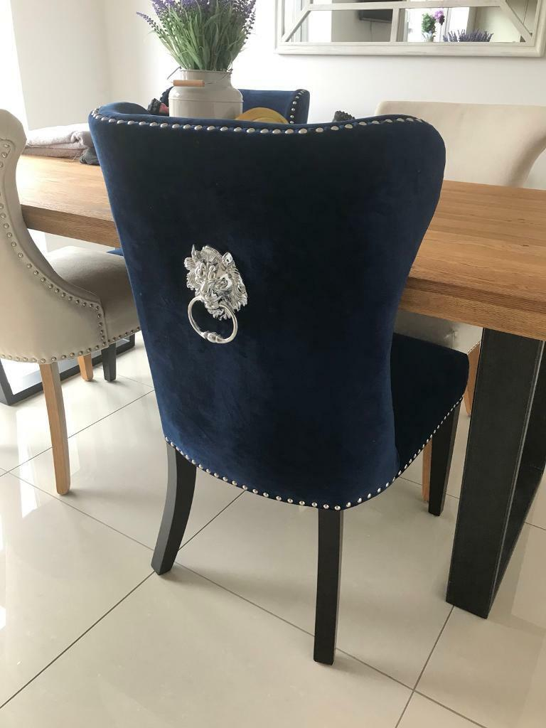 2x Royal Blue Wing Back Chairs In Stafford