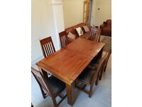 Solid Wood debenhams Dining Table and 6 Matching Leather Chairs