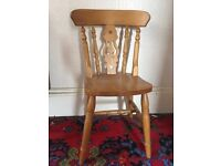 Solid Pine Fiddle Back Kitchen Chair. Over 60 to clear. Ideal for home or commercial use.