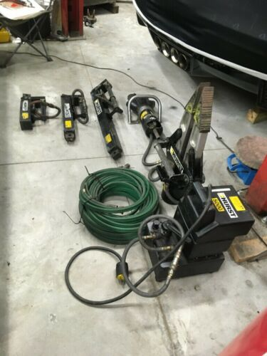 Hurst Jaws of Life Rescue Extrication Tools and Electric Pump, Complete 7 Pieces