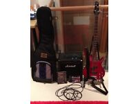 Ibanez GSR200 trans red bass guitar with Marshall B25 MkII bass amp and gig bag
