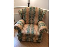 Large Green, Gold and Red Floral Winged Armchair