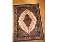 Persian silk rug ivory cream and gold