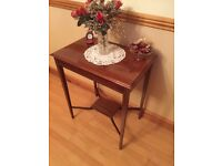 Elegant Reproduction Side Table, solid mahogany and with marquetry