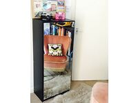 Tall black mirrored shoe cabinet