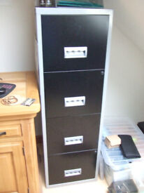 lockable, metal, four draw filing cabinet