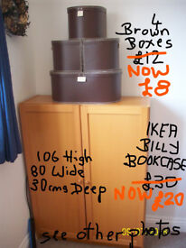 IKEA BILLY BOOKCASE WITH DOORS IN BEECH COLOUR,4 BROWN STORAGE BOXES.GILLINGHAM DORSET