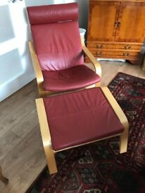 Ikea armchair and stool in red leather
