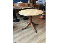 Round pine farmhouse table