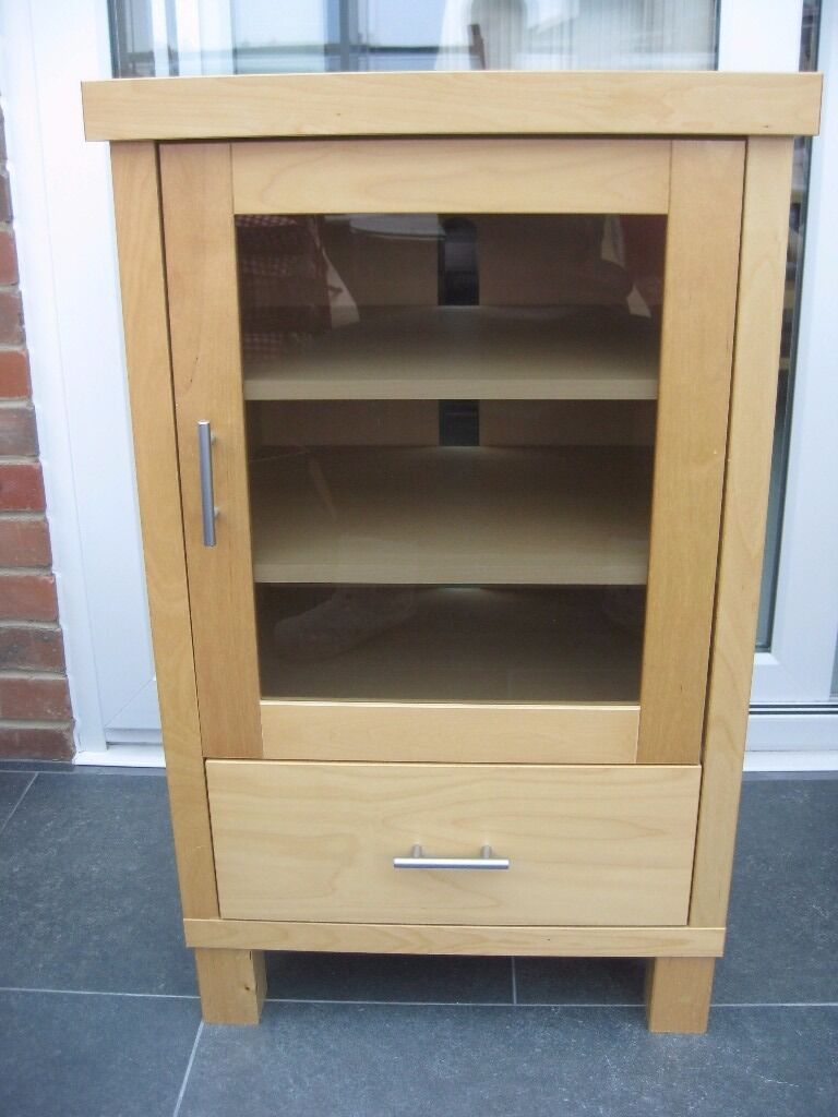 Hifi Cabinet In Ash Solid Wood With Glass Door And Drawer In