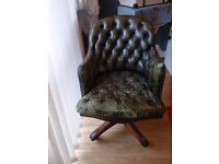 Chesterfield - Swivel Antique Solid Leather Office Chair