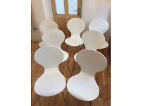 7 x Kitsch White Dining Chairs. Lovely design - restoration project?
