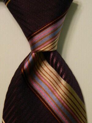 IKE BEHAR Men's 100% Silk Necktie USA Designer STRIPED Purple/Multi-Colored GUC